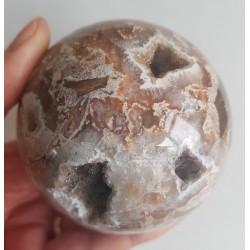Flinke bol van Versteend Hout, met Kristal kraters, 771 gram!